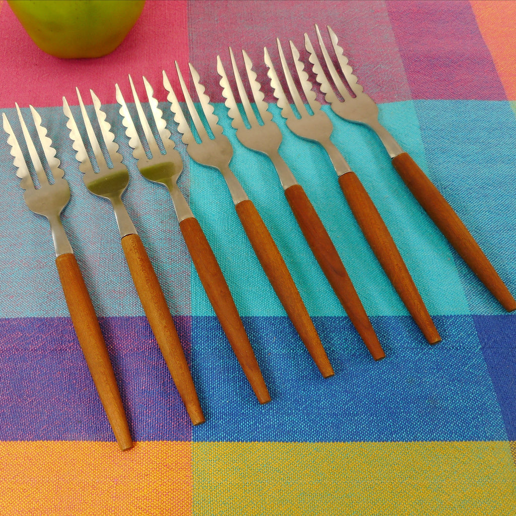 Nevco Japan 7 Set Teak Stainless Forks - Serrated Scalloped Tine Edge