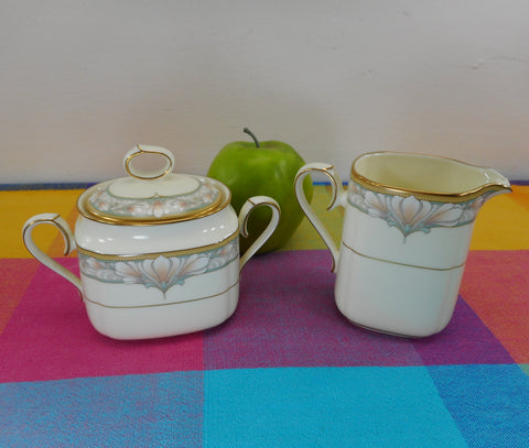 Noritake Japan Bone China - Barrymore - Creamer & Lidded Sugar Bowl