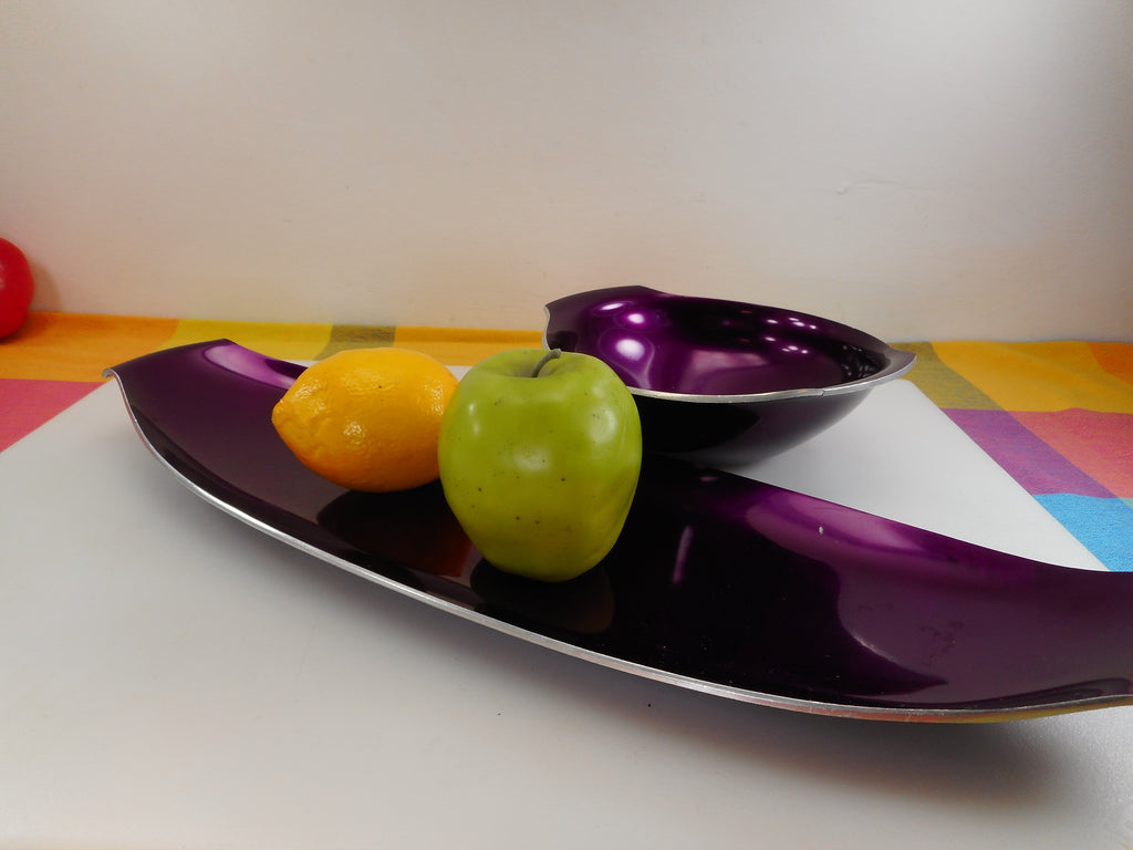 Olden Norway Aluminum Purple Anodized Bowl and Long Serving Tray Mid Century Lug Handles
