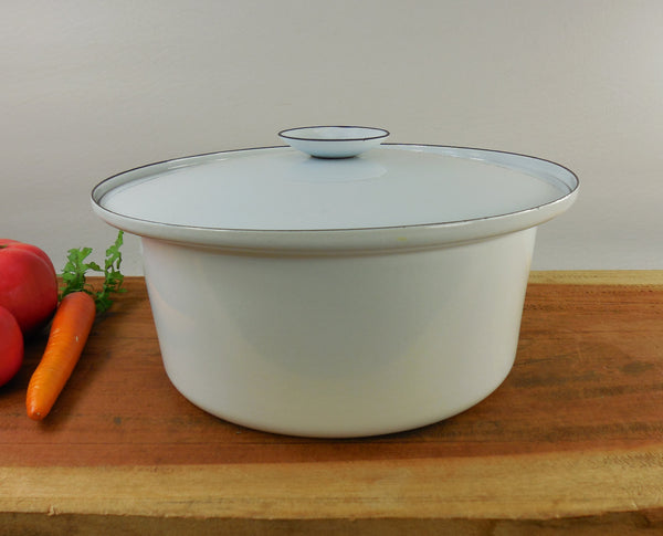 SOLD Unmarked IDG Oslo Cathrineholm - White Black Dutch Oven Casserole Pot Lid - Mid Century Modern