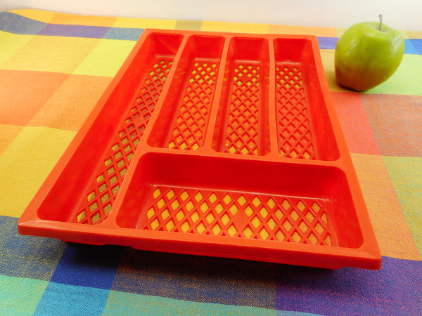Unbranded Orange Plastic Diamond Mesh Flatware Drawer Tray Holder Organizer