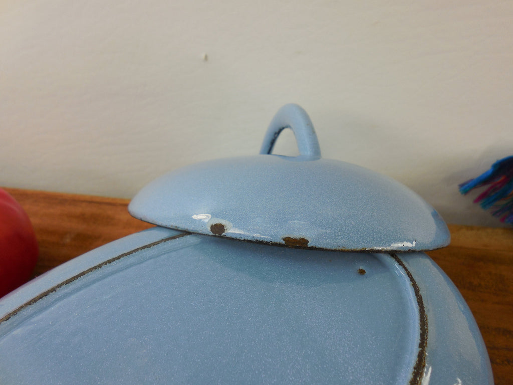 Cast Iron Enamel Oval Small Roaster Casserole Pot Lid - 4 Leaf Club Clover Maker Mark lid 2