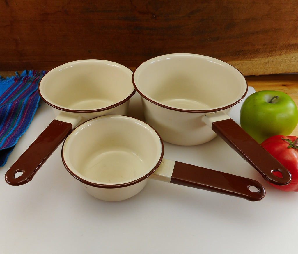 "Unbranded 3 Size set Brown Tan Enamelware Sauce Pans 5"" 6"" 7"" - Vintage Old Farmhouse"