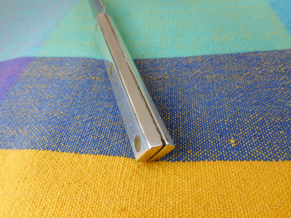 "Unbranded Kitchen Paring Knife 2.25"" Stainless - Polished Aluminum Handle Brass Pins Vintage"