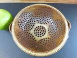 Studio Pottery Kitchen Colander - Brown Earthtone Glaze Stoneware top view