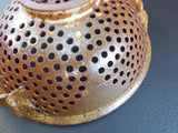 Studio Pottery Kitchen Colander - Brown Earthtone Glaze Stoneware detail