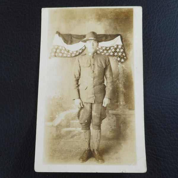 RPPC Postcard WWI US Solder With Flag Bunting