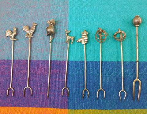 Cocktail Picks 8 Vintage Lot - Sterling Silver & Not Marked - Mexico Japan Etc