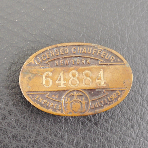New York Expires 1923 Licensed Chauffeur Copper Pin Vintage