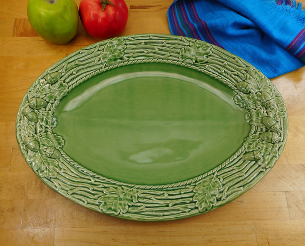 Bordallo Pinheiro Portugal Green Oak Leaf Acorn Oval Platter 15.75""