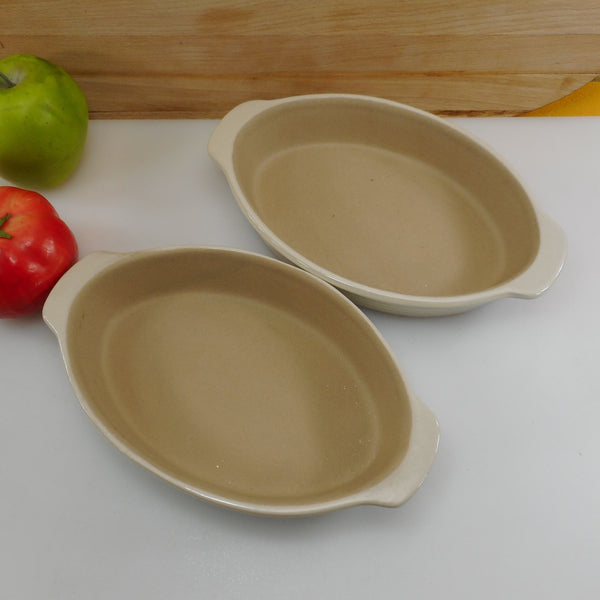 Pampered Chef Family Heritage Stoneware Pair Oval Au Gratin Dish