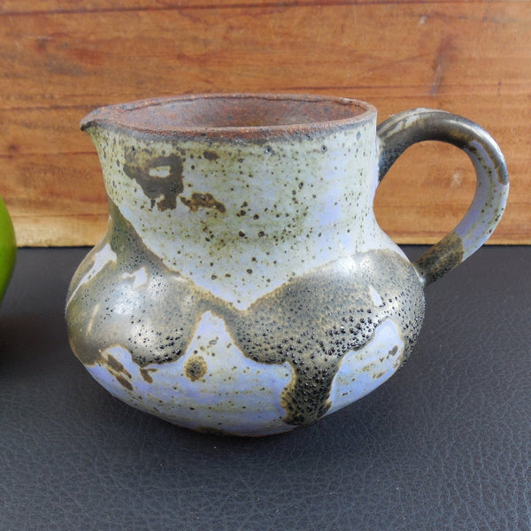 Studio Art Thrown Pottery Small Pitcher or Creamer - Lavender Brown Purple Stoneware Unsigned