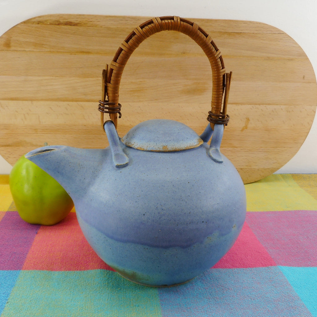 V. Peter 1985 Signed Art Pottery Blue Teapot Bamboo Handle