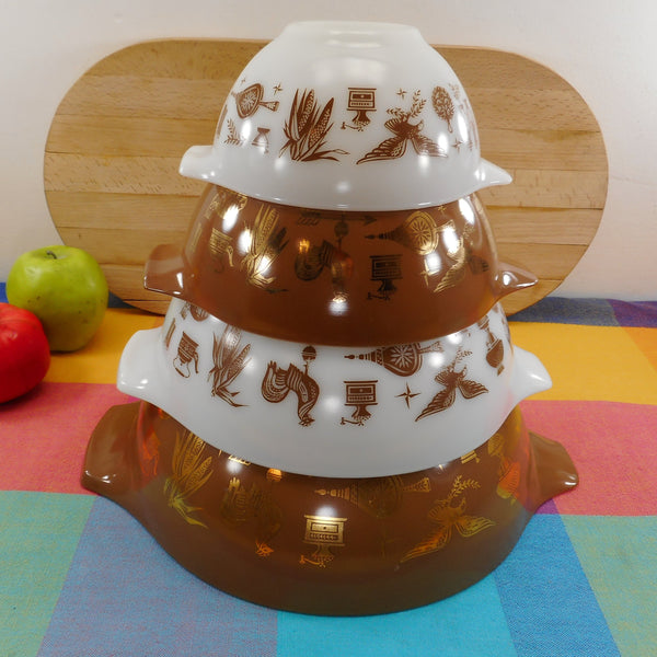 Pyrex Glass 4 Set Nesting Cinderella Mixing Bowls - Early American Brown White Gold Vintage