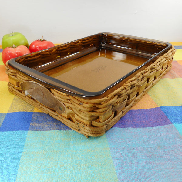 Pyrex USA Amber Glass Baker in a Basket Rectangular Casserole Lasagna Dish 233