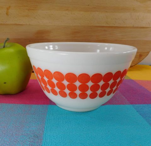 Pyrex Glass Mixing Bowl - Coral Pink Polka Dot Pattern - 401 1-1/2 Pint Vintage Ovenware