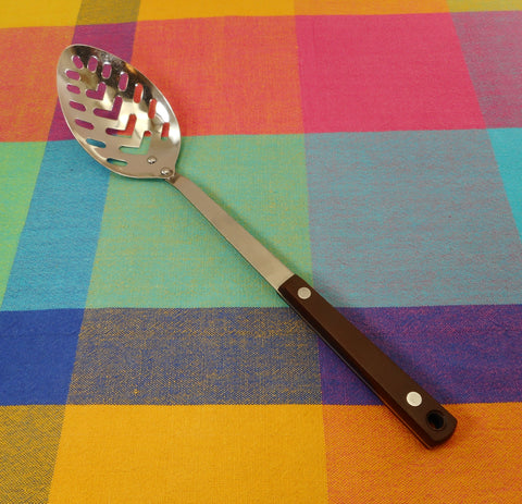 Pyramid Japan Vintage Kitchen Utensil - Slotted Spoon - Brown Canoe Muffin Handle MCM