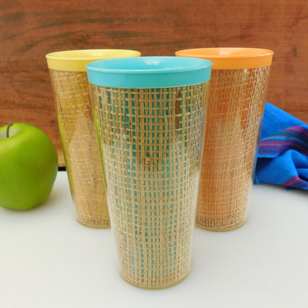 Plastic Melamine Woven Burlap Raffia Insulated Tall Tumblers - Vintage Aqua Yellow Orange