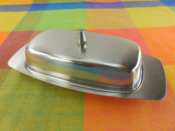 Leonard Denmark Stainless Steel Butter Stick Covered Dish - Vintage
