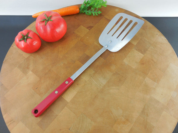 SOLD Sky-Line Eterna England - Stainless Red Plastic Handle Spatula - Vintage Kitchen Utensil