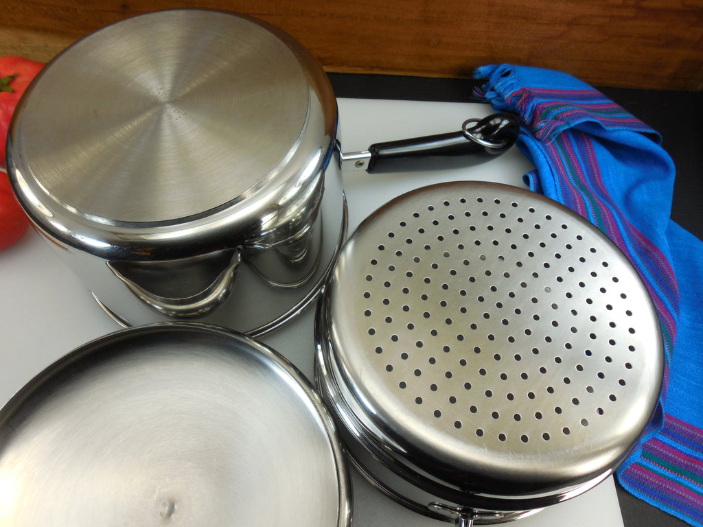 Revere Ware 1986 Tri-Ply Disc - 3 Quart Saucepan with Lid & Steamer Insert - Stainless Steel... 3 pieces