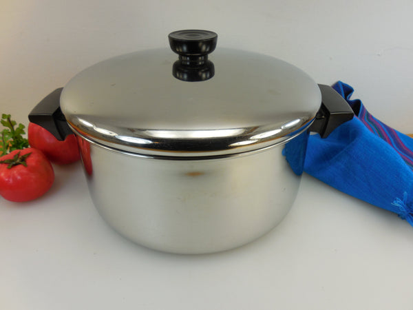 Revere Ware USA 4-1/2 Quart Stock Pot - 1995 Tri-Ply Thick Disc Bottom - Stainless Steel Cookware