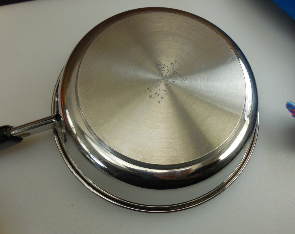 "Revere Ware 7"" Fry Pan Skillet & Lid - Tri-Ply Thick Disc Bottom - Stainless Steel Vintage Cookware Korea"