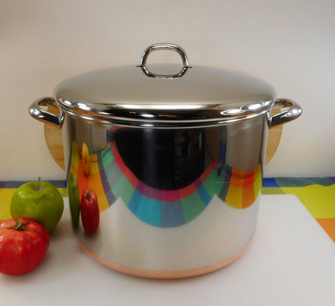 Revere Ware Large 16 Quart Stock Pot & Lid - 1997 Clinton Ill. USA Copper Clad Stainless Metal Handles