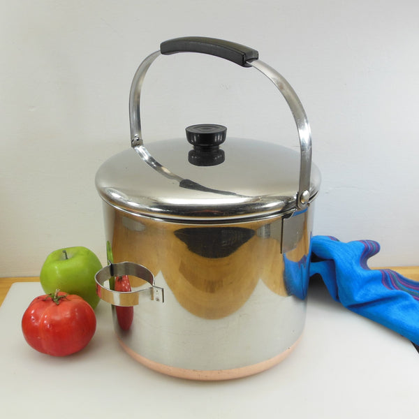 Revere Ware 8 Quart Stock Pot & Lid Commercial Bail Handle - Process Pat.