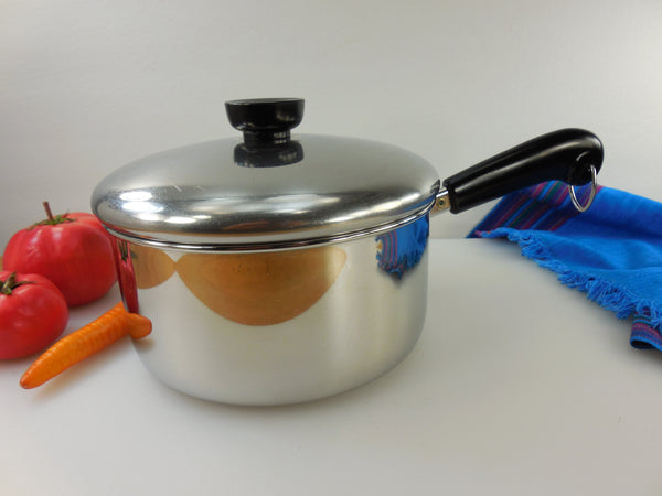 SOLD... Revere Ware 2 Quart Saucepan Pot & Lid- Tri-Ply Thick Disc Bottom - Stainless Steel Vintage Cookware