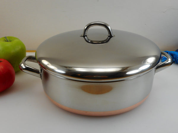 "Revere Ware 1985 Rare 9"" Braiser Pan 3-1/4 Quart - Stainless Copper Straights Sides Metal Handles"
