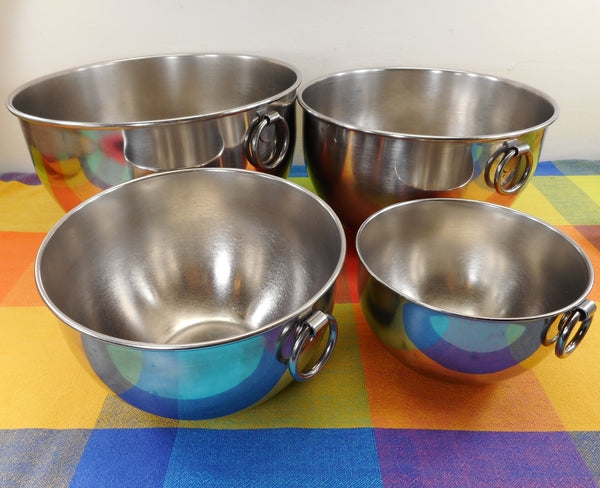 "Revere Ware 4 Set Nesting Stainless Steel Mixing Bowls ""O"" Ring - 1, 2, 4, 6 Quart - Pre-1968"