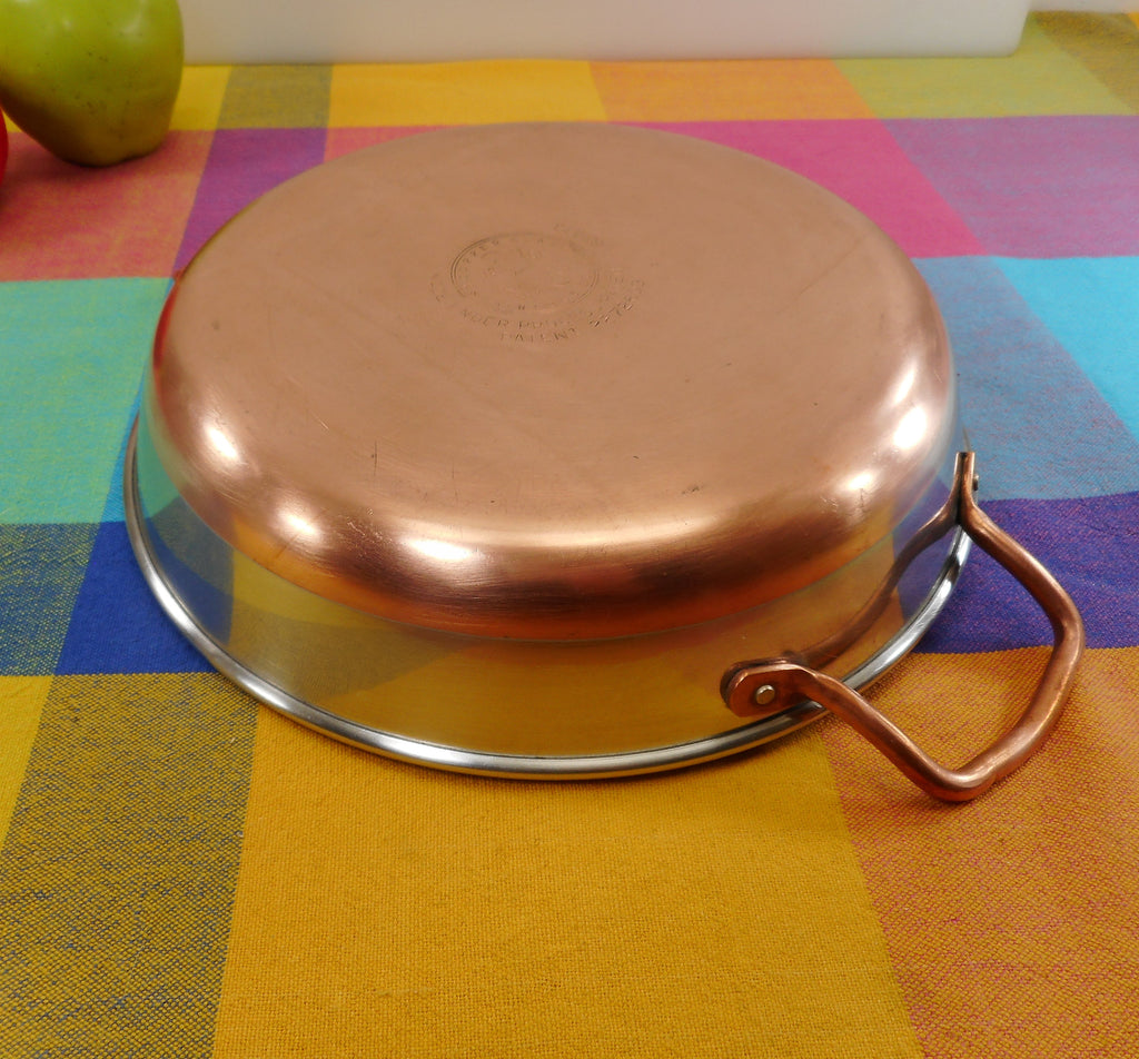 Revere Ware Rare Solid Copper Handle Casserole Pan Process Pat. Pre-1968 Stainless Steel
