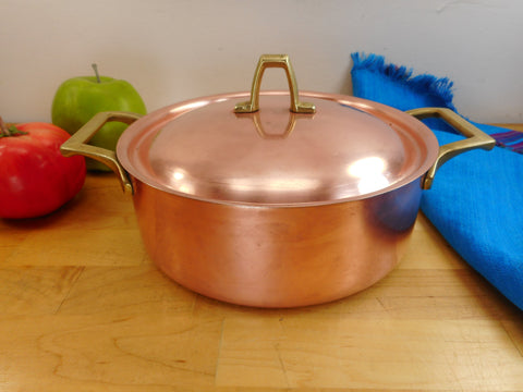 Paul Revere Ware Limited Edition - 2 Quart Covered Casserole Pot Lid - Copper Stainless Brass Vintage Cookware