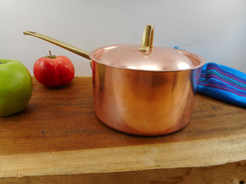 Paul Revere Ware Signature Limited Edition - 2 Quart Saucepan Pot Lid - Copper Stainless Brass Vintage Cookware