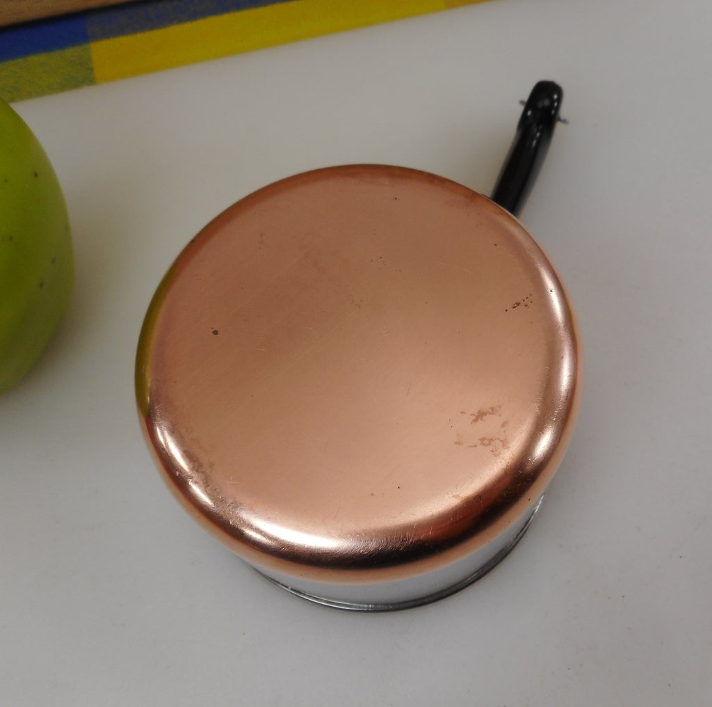 Revere Ware Mini Toy Size Saucepan Measuring 1 Cup in 1/3s 1/4s - Stainless Copper Circle Logo Used