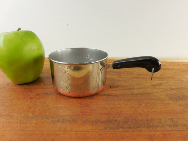 SOLD... Revere Ware Mini Toy Size Saucepan Measuring Cup - 1 cup in 1/3s 1/4s - Stainless Copper Pre 1968