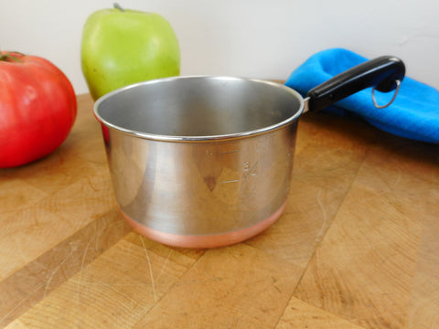 Revere Ware Mini Toy Size Saucepan Measuring Cup - 1 cup in 1/3s 1/4s - Stainless Copper