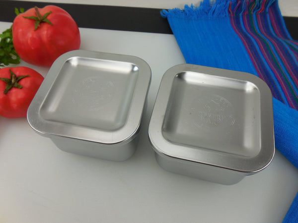 Revere Ware Two Small Stainless Refrigerator Lidded Dishes