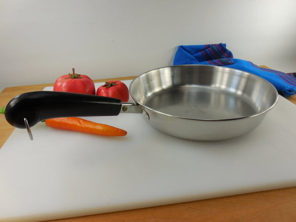 "SOLD... Revere Ware 9"" Fry Pan Skillet 23cm - Tri-Ply Thick Disc Bottom - Stainless Steel Vintage Cookware"