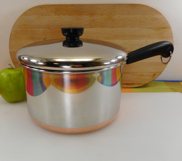 Revere Ware 4 Quart Saucepan & Lid - Stainless Copper Clad - 1991 Clinton Ill. USA Vintage Cookware