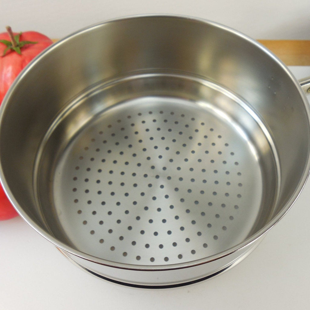 Revere Ware Stainless 2 & 3 Quart Saucepan Steamer Insert - with Black Handle - Vintage Cookware Used