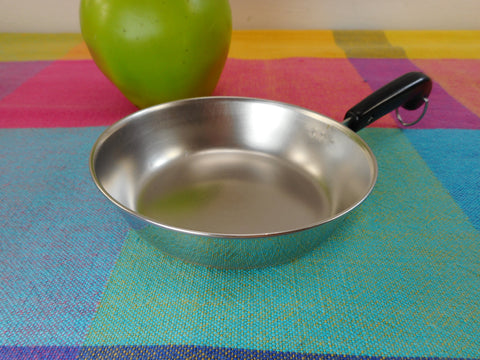 "Revere Ware Mini Toy Size 4"" Skillet Fry Pan... Vintage Stainless Copper Play Cookware"