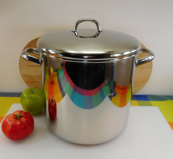 Revere Ware Tri-Ply Tall 12 Quart Stock Pot 1993 Clinton Ill. USA - Stainless Disc Bottom