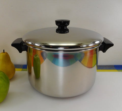 Revere Ware 6 Quart Stock Pot 1987 Tri-Ply Thick Disc Bottom - Stainless Steel Cookware