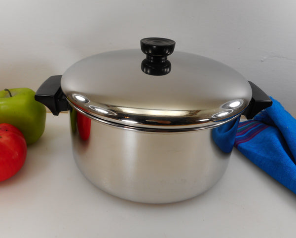 Revere Ware 4-1/2 Quart Stock Pot - 1989 Tri-Ply Thick Disc Bottom Stainless Steel Cookware