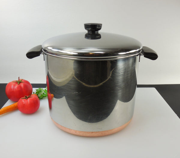 SOLD... Revere Ware Tall 8 Quart Stock Pot & Lid - Pre 1968 Process Pat..... Copper Clad Stainless Vintage Used Cookware