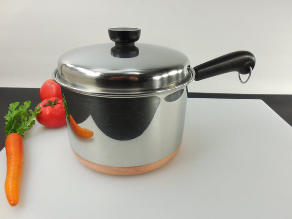 SOLD... Revere Ware 3 Quart Saucepan Pot & Lid - 1989 Clinton Ill. USA - Stainless Copper Clad Vintage Cookware
