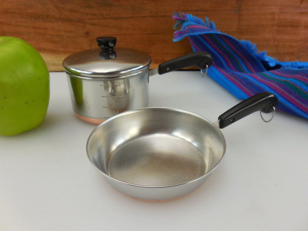 Revere Ware Mini Toy Size Skillet, Saucepan Measuring Cup and Lid... Vintage Pre 1968 Stainless Copper