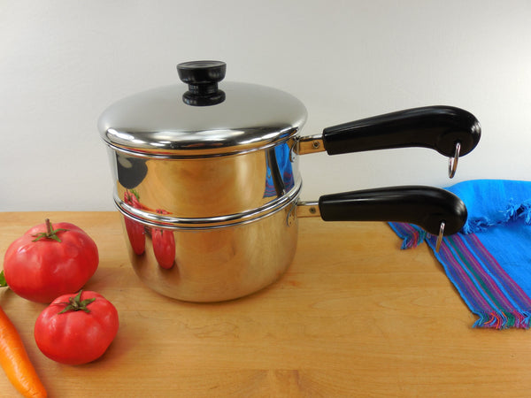 SOLD... Revere Ware 1990 Tri-Ply Disc - 2 Quart Saucepan Pot with Lid & Double Boiler Insert - Stainless Steel